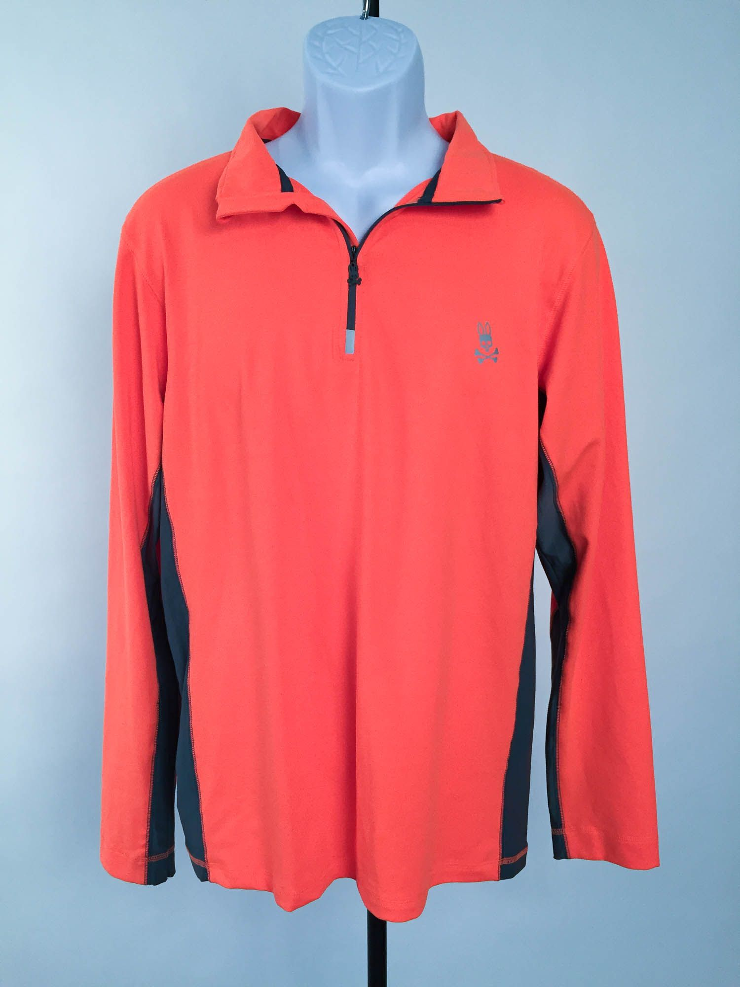 Psycho bunny 12 zip orange and grey running shirt m