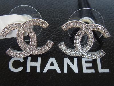 Authentic Chanel Cc Silver Crystal Pierced Stud Earrings For 150