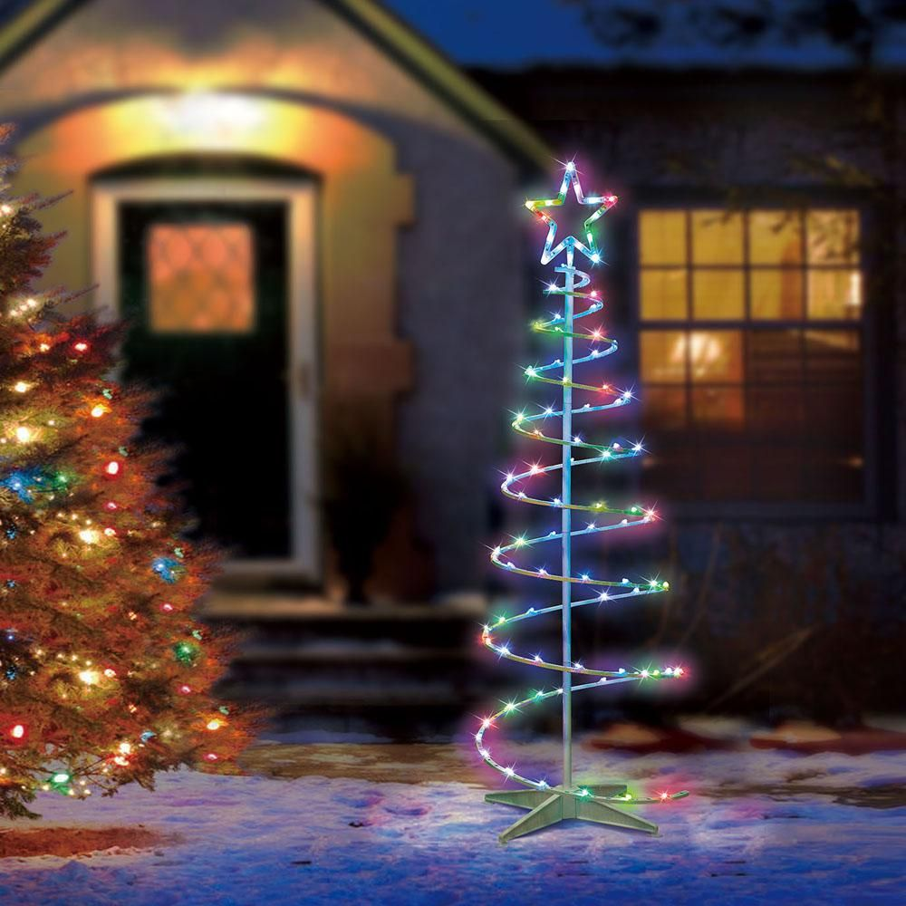 Illuminations 5 5 Ft Color Blast Remote Controlled Rgb Led 96 Light Spiral Tree 5 Point Spiral Tree Outdoor Christmas Decorations Yard Color Changing Lights