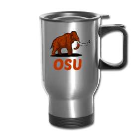 This design commemorates discovered Mammoth remains during construction at Oregon State University's Reser Stadium (left / right) Mammoth OSU Silver Travel Mug