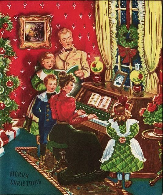 Vintage Greeting Card Christmas People Old Fashioned ...