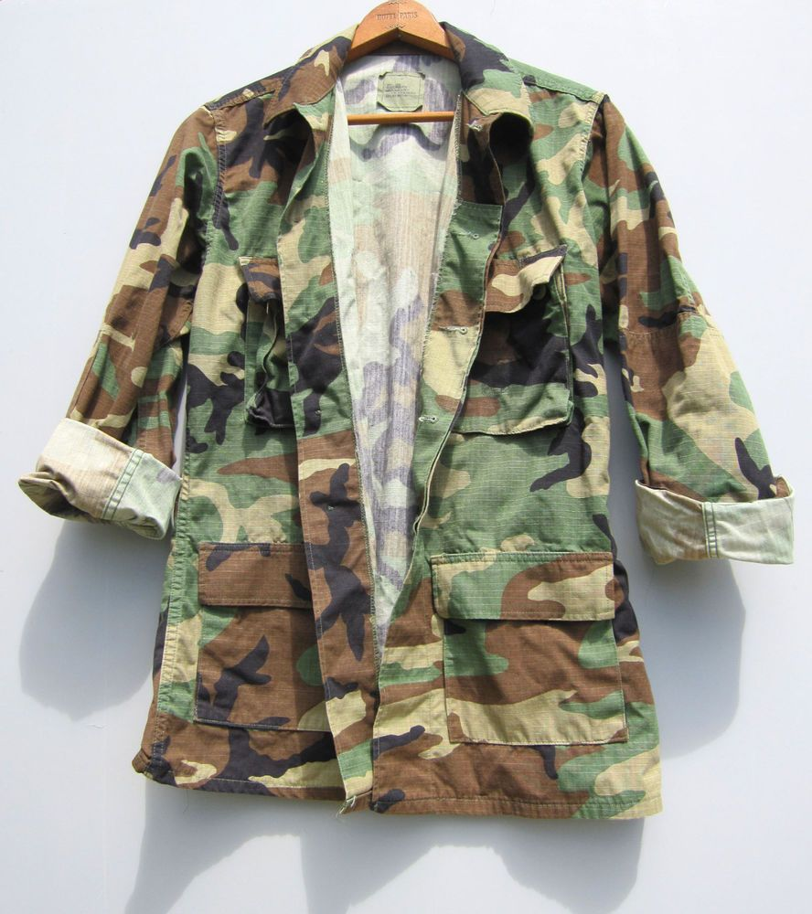5ba0500804a3a Vintage Camo Jacket US Military Shirt Camouflage Long Small #camouflage  #streetstyle