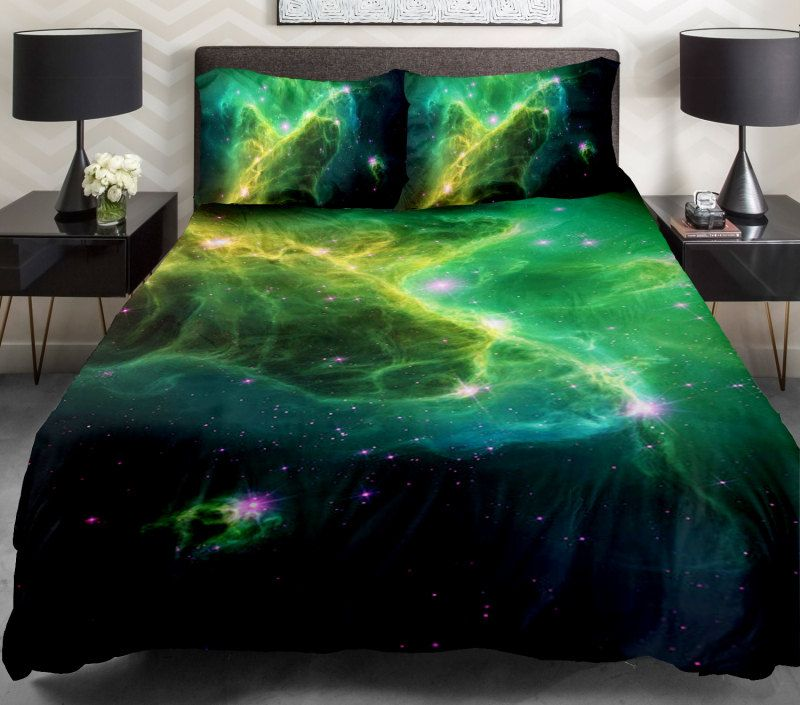 Green Galaxy Quilt Cover Blue Bedspread Set Sheets Outer E Bedding Navy
