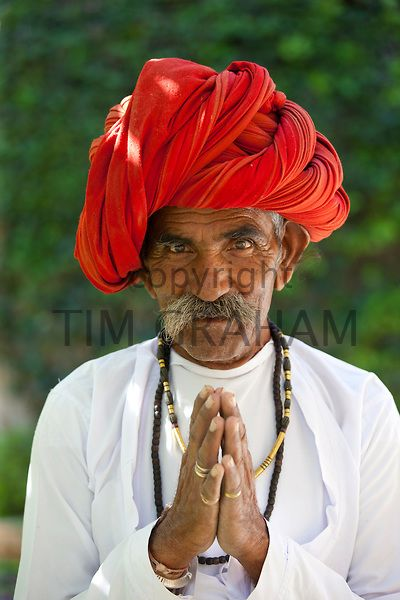 Traditional namaste greeting from indian man with traditional traditional namaste greeting from indian man with traditional rajasthani turban in village in rajasthan india model released m4hsunfo