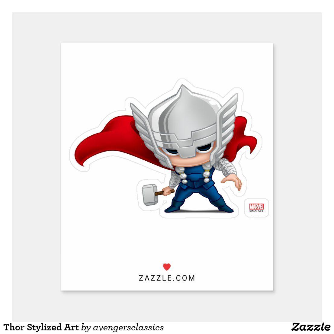 Thor Stylized Art Sticker   Zazzle.com   Sticker art, Art, Design ...