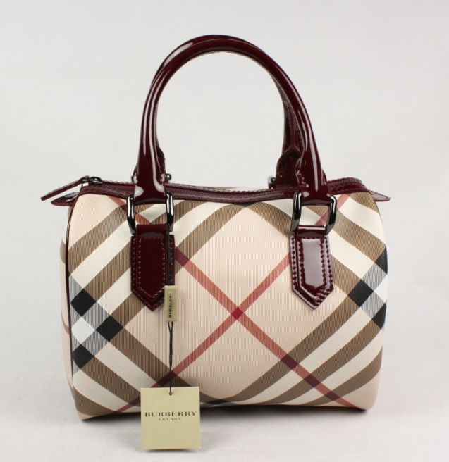 Burberry Small Nova Check Bowling Bag In Maroon