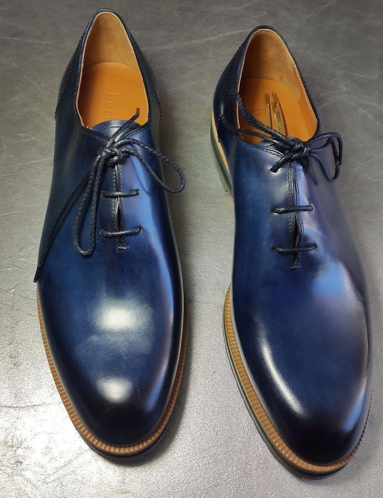 0410d4e7b76ca New Berluti Alessio Whole-Cut Leather Oxford Blue brick-green sole Sz 9 # Berluti #laceup