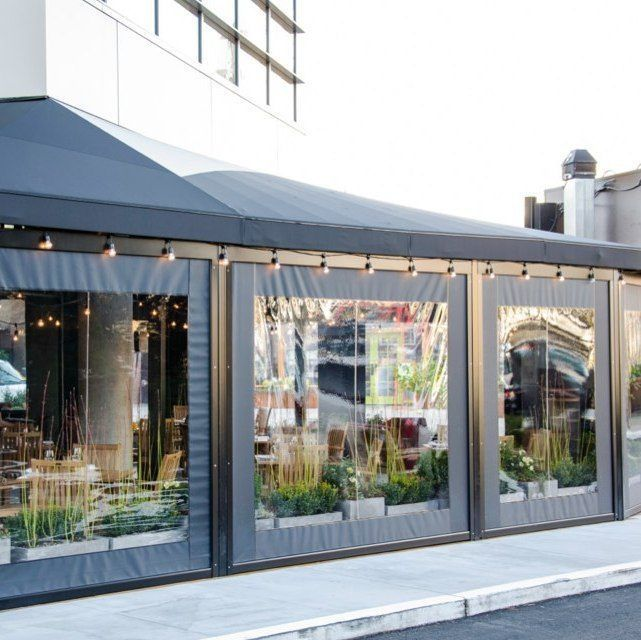 Vestibule Enclosures And Awnings In Nyc Restaurant Patio Patio Enclosures Outdoor Cafe