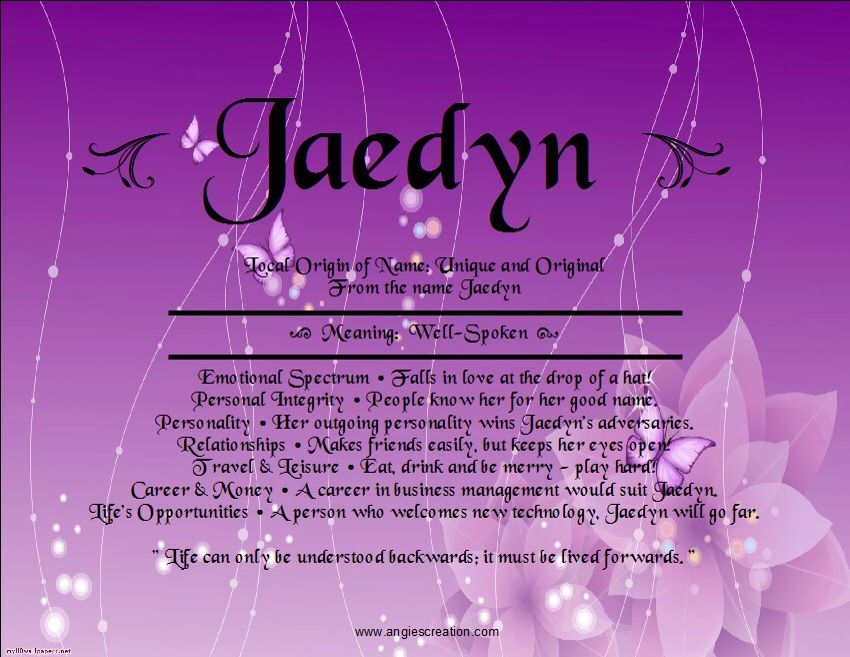 Jaedyn | Names, Meant to be
