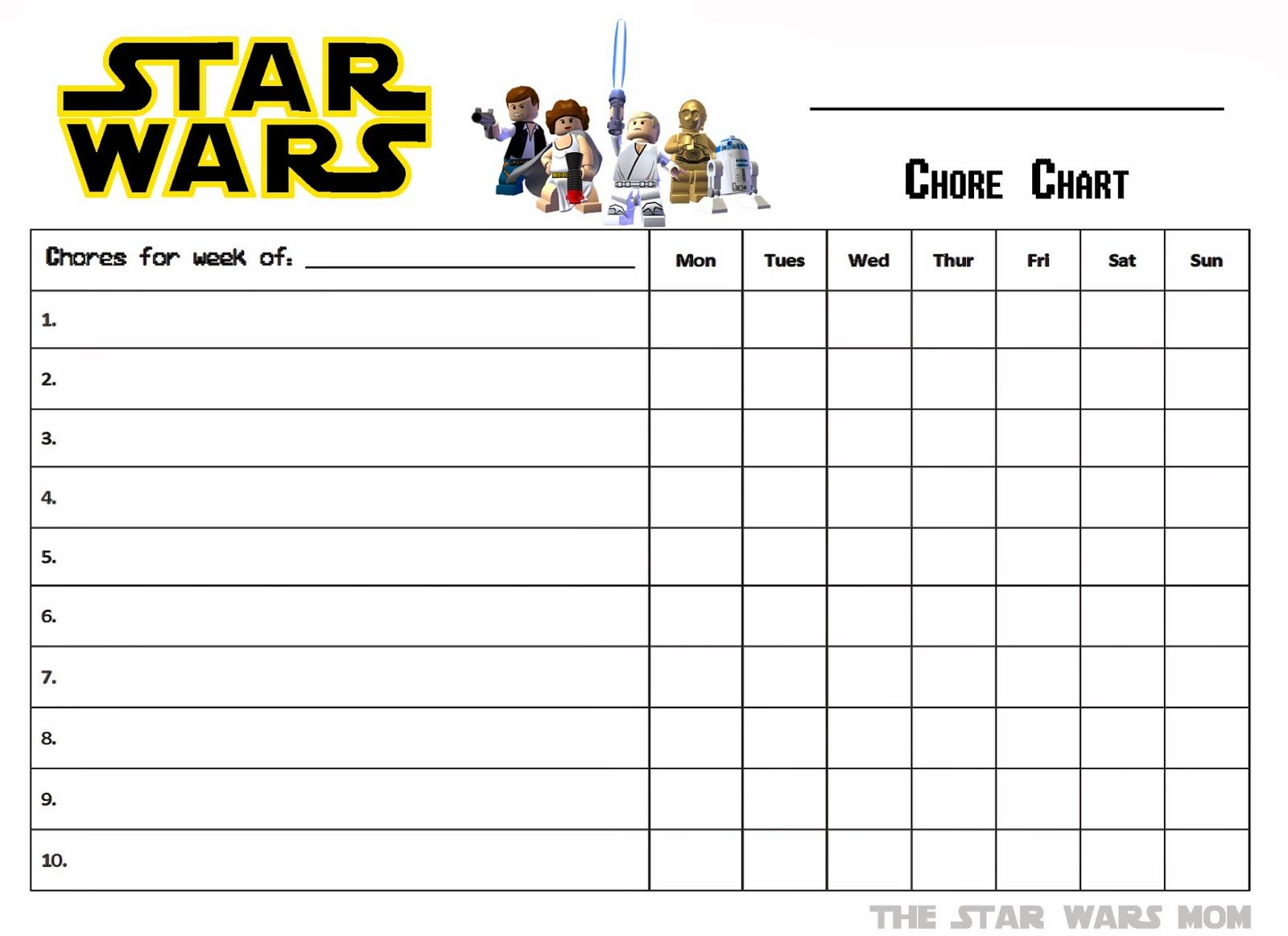 Star Wars Free Printable Chore Chart For the Home – Chore List Template