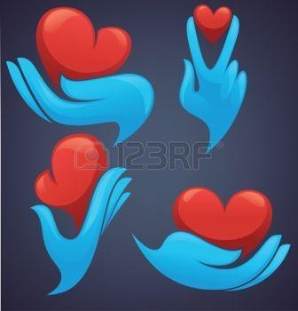 Символы рук человека с сердцем и декоративные photo
