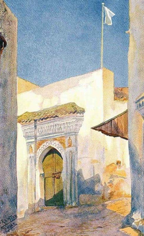 Bruno Richter Eine Moschee In Tanger 1870 Art Marocain Peinture