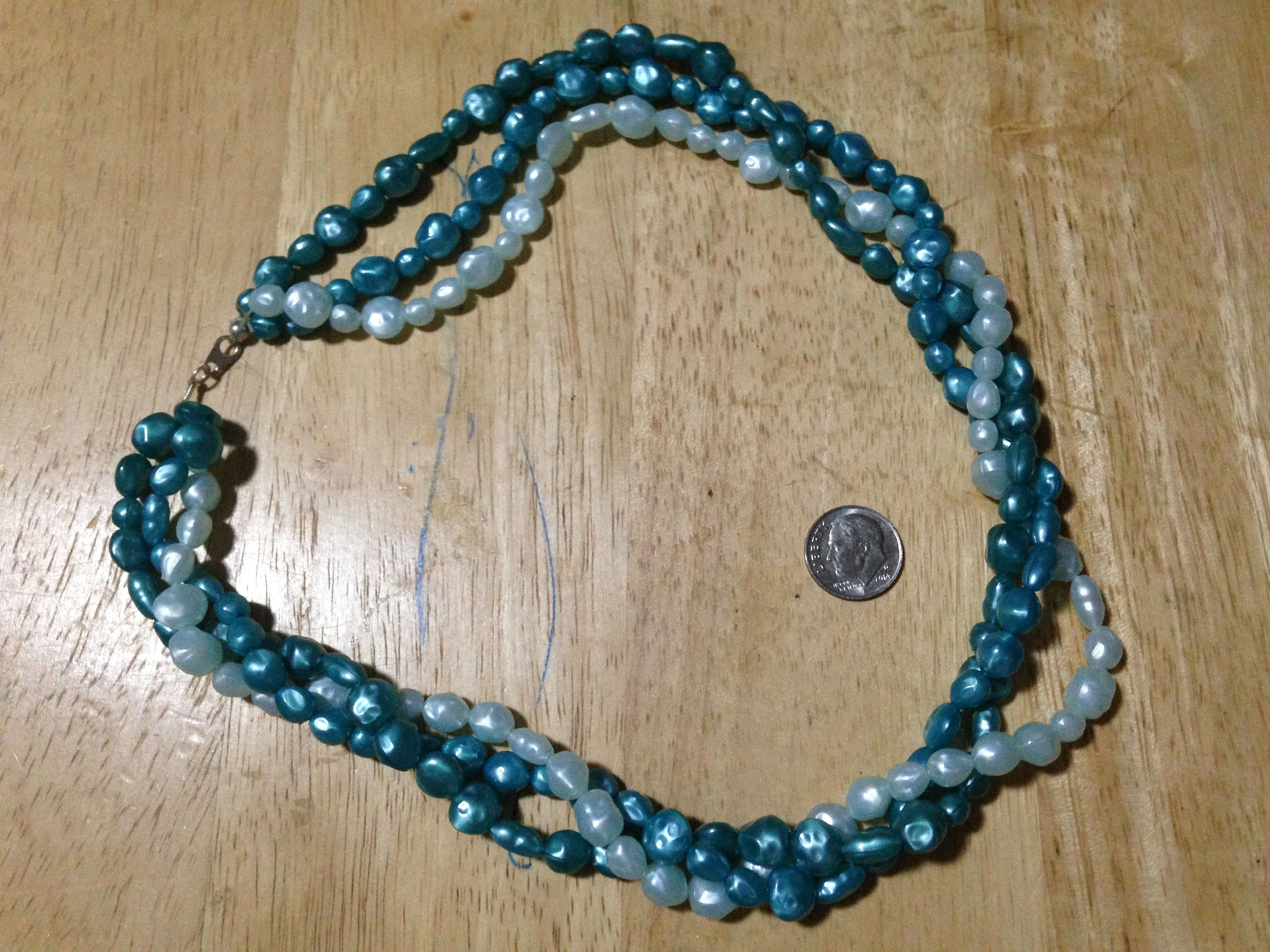 Beaded Necklace on cotton thread: three strands of green and light ...