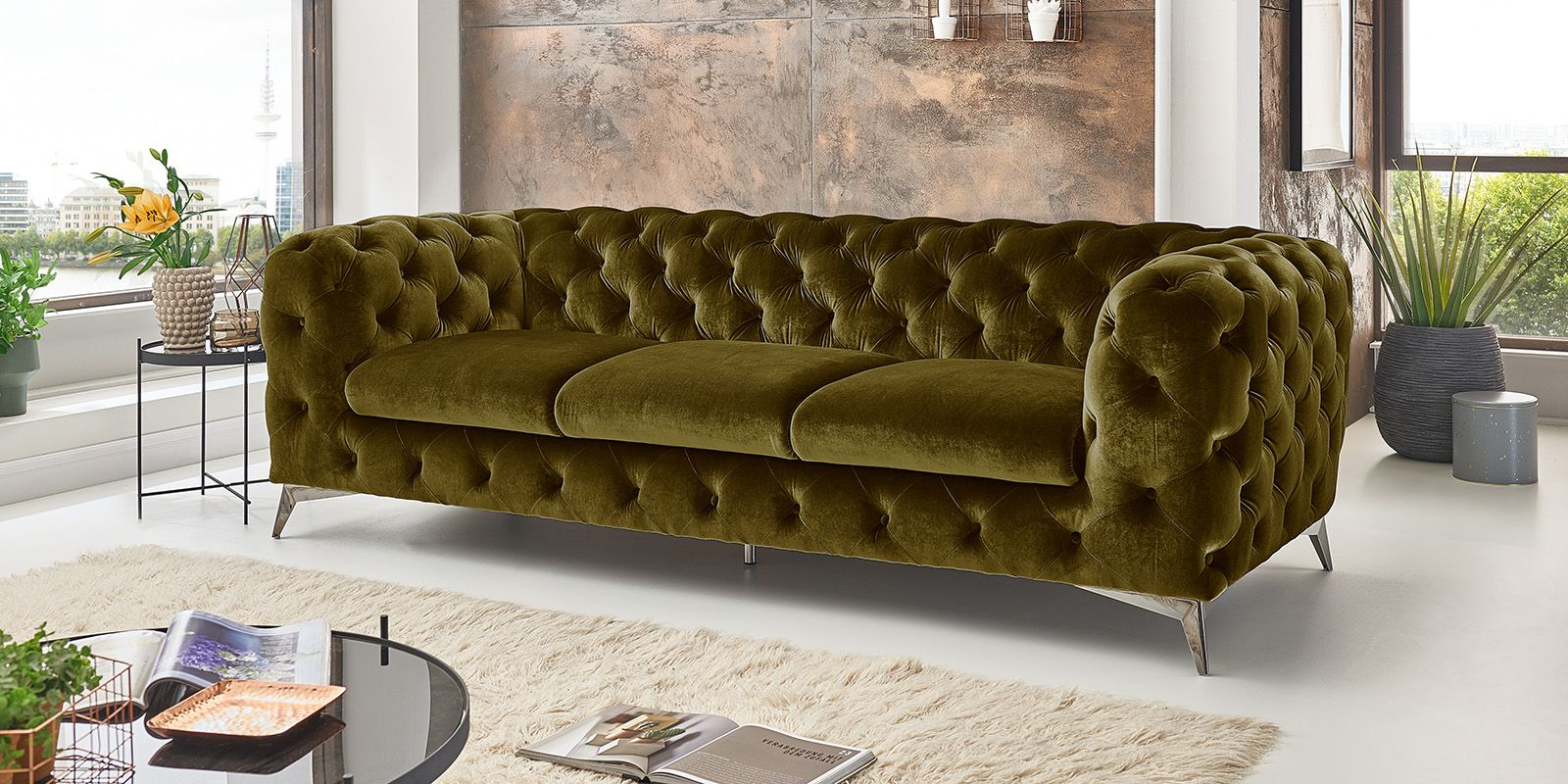 3 Sitzer Chesterfield Sofa Big Emma Samt Chesterfield Sofa Sofa