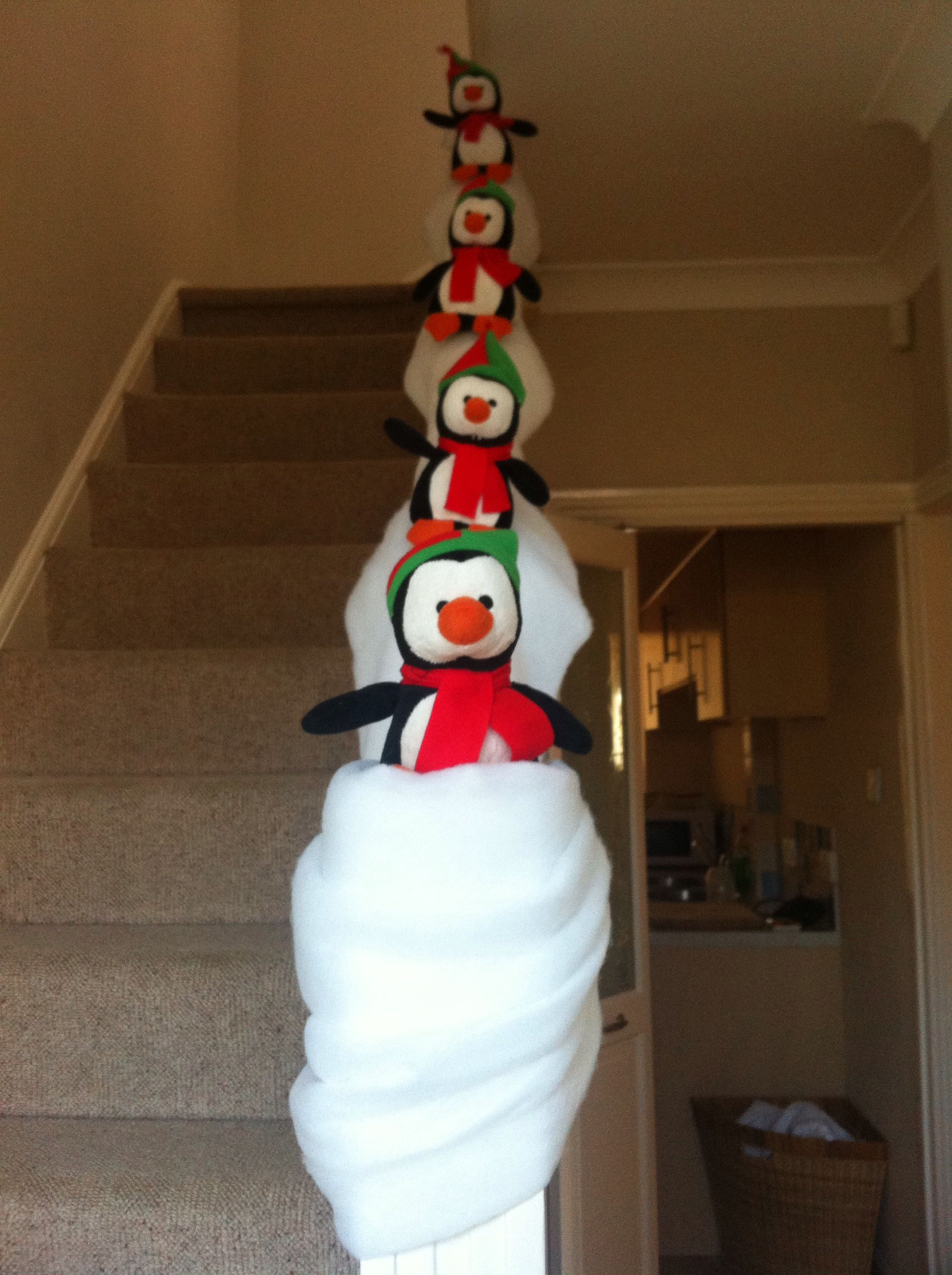 Penguins having a blast / decoration / Christmas / stairs