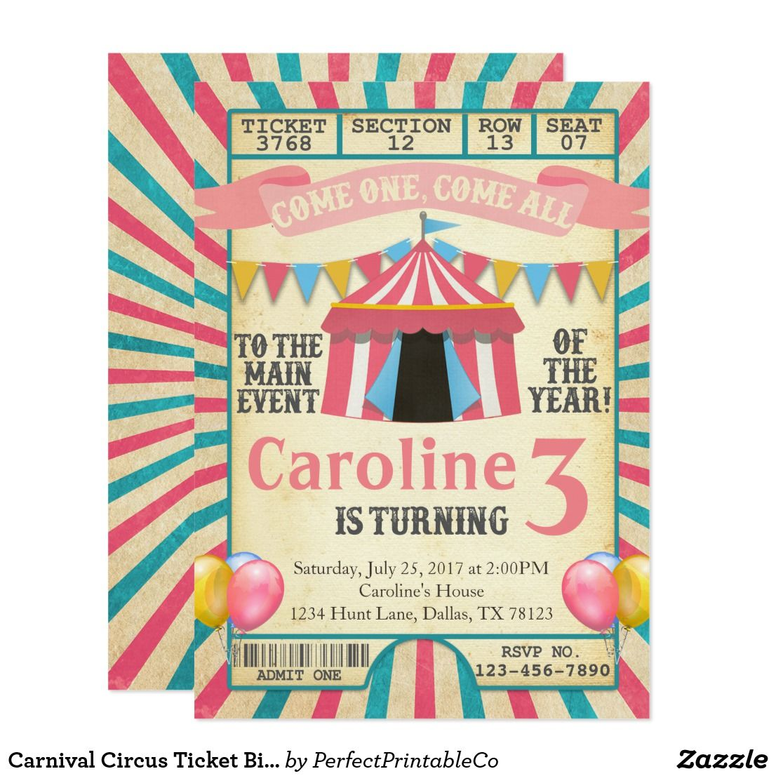 Carnival Circus Ticket Birthday Party Invitation Circus tickets