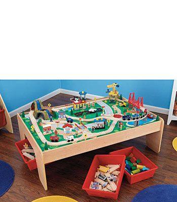 KidKraft Wooden Waterfall Mountain Train Table and Set | Kids Wish ...