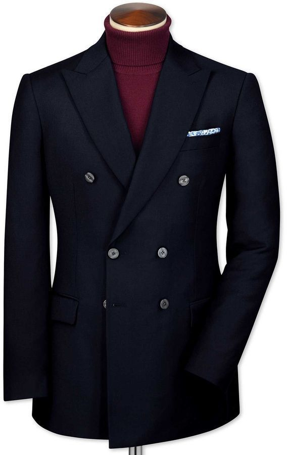 ff39e76a0d3 Charles Tyrwhitt Slim Fit Navy Double Breasted Wool Wool Blazer Size 38
