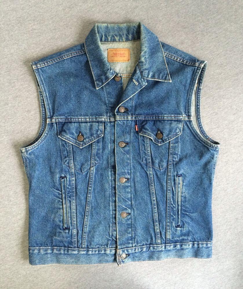 Levis Denim Jacket 80s Vintage Sleeveless Jean Vest Usa Type 3 4 Pocket Biker Jean Vest Levis Denim Jacket Levis Denim [ 1000 x 839 Pixel ]