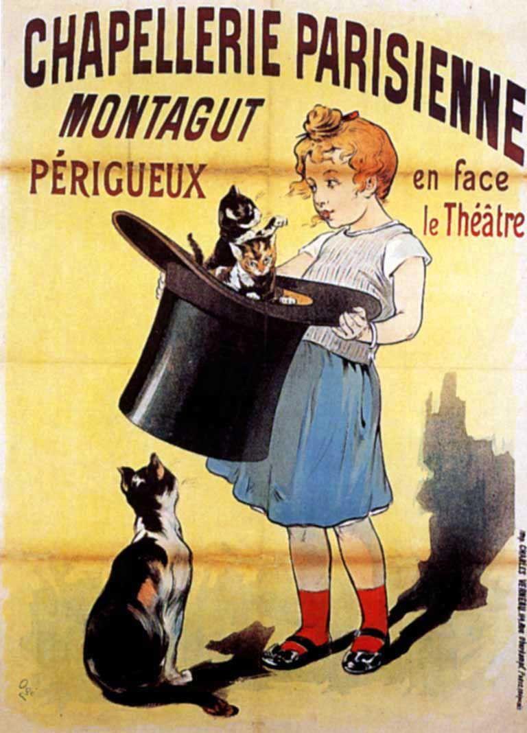 Chapellerie parisienne Montagut vintage advertising poster by Eugène Ogé, 1897