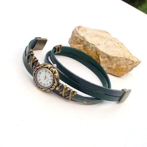 Women's leather watch Leather wrist watch for women by Jullyet, $30.00