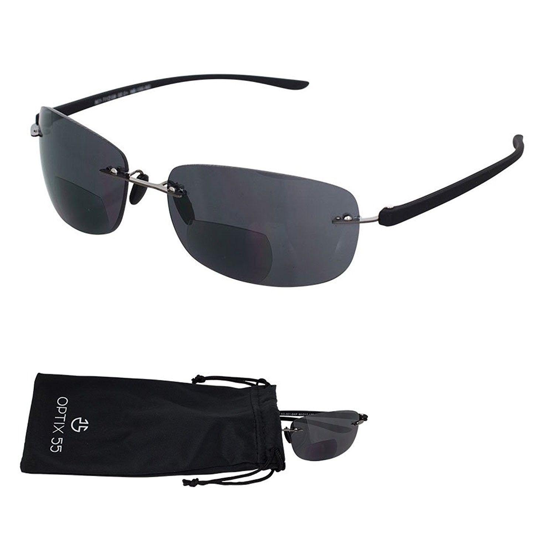 Rimless Bifocal Reading Sunglasses Lightweight