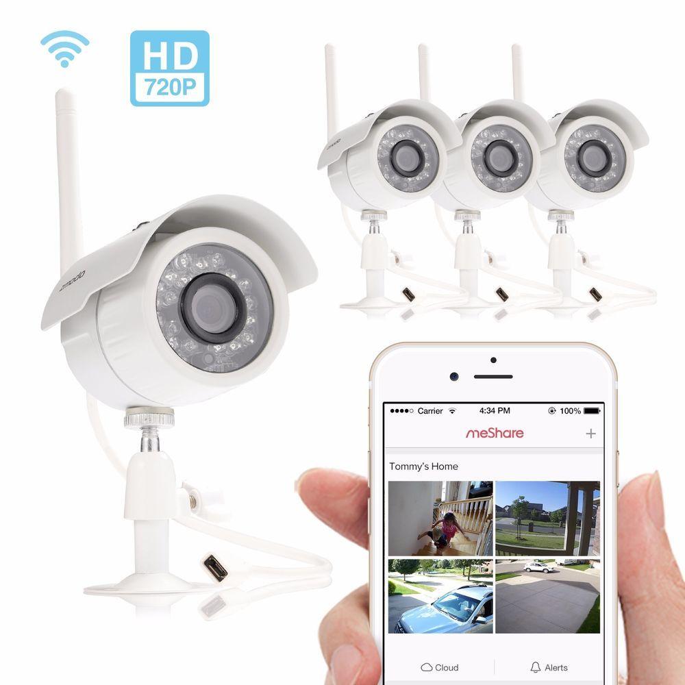 Zmodo 720p HD 4 IP Wireless Outdoor IR Night Vision Home Security ...