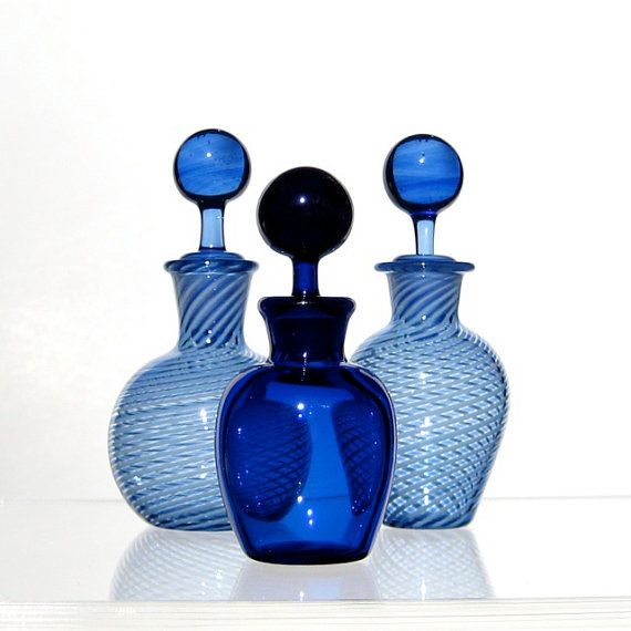 Perfume Bottle or Small Jar, Cobalt Blue Hand Blown Glass