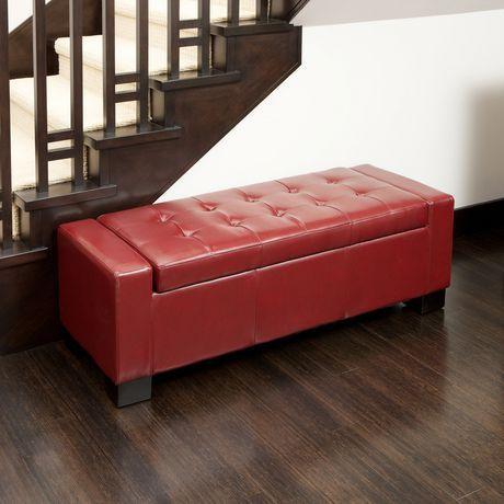 Brilliant Noble House Rachel Red Bonded Leather Storage Ottoman Evergreenethics Interior Chair Design Evergreenethicsorg