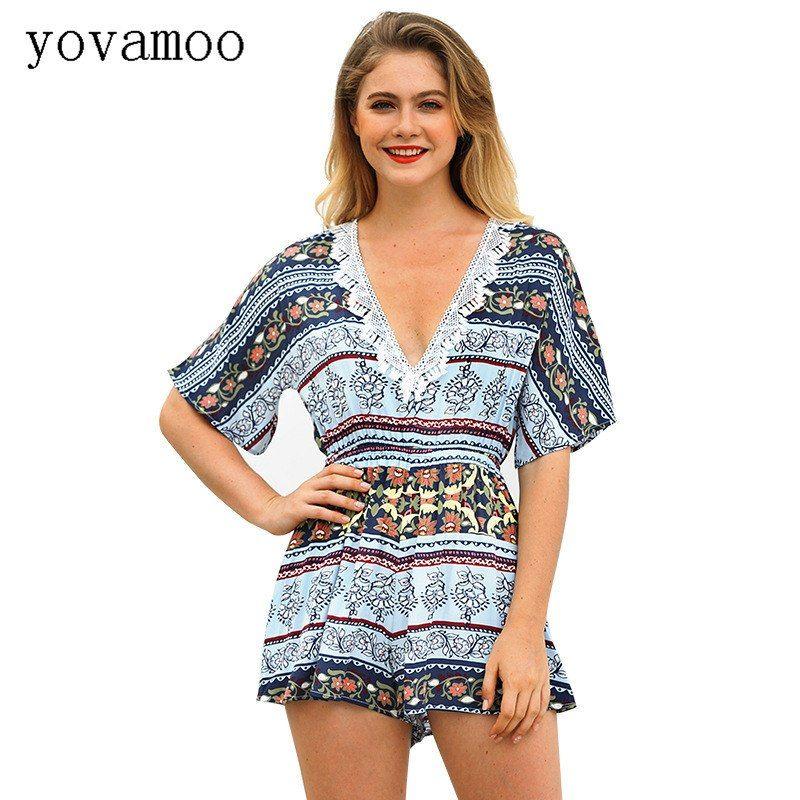 b9d4d098b8a3 Summer Streetwear Bohemian Half Sleeve V-neck Print Shorts Sexy Jumpsuit  High Waist Boho Casual Rompers Women