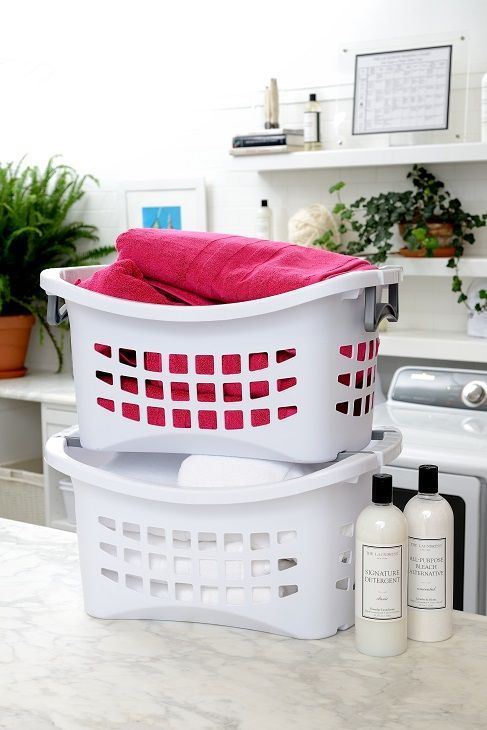 White Stackable Laundry Basket With Grey Handles Laundry Craft