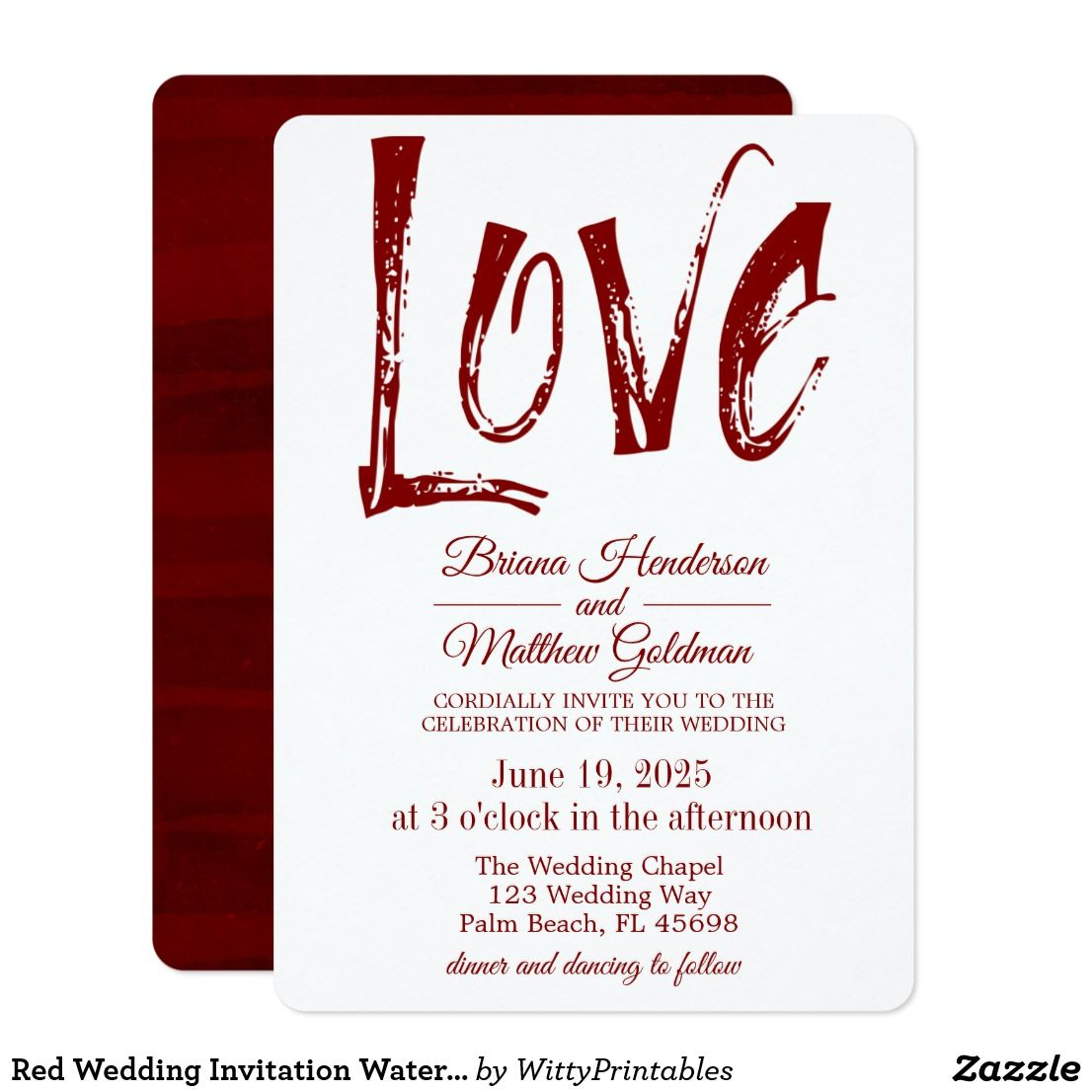 Red Wedding Invitation Watercolor Typography Love | Red wedding ...