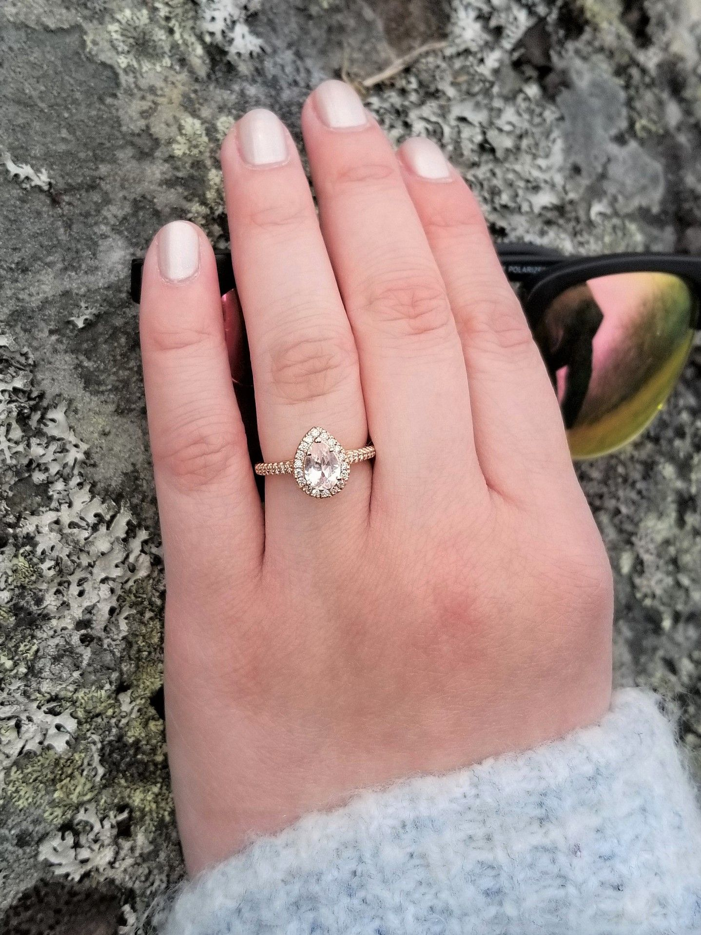 Pear Shape Peach Sapphire Rose Gold Ring 0.90cts Sapphire ...