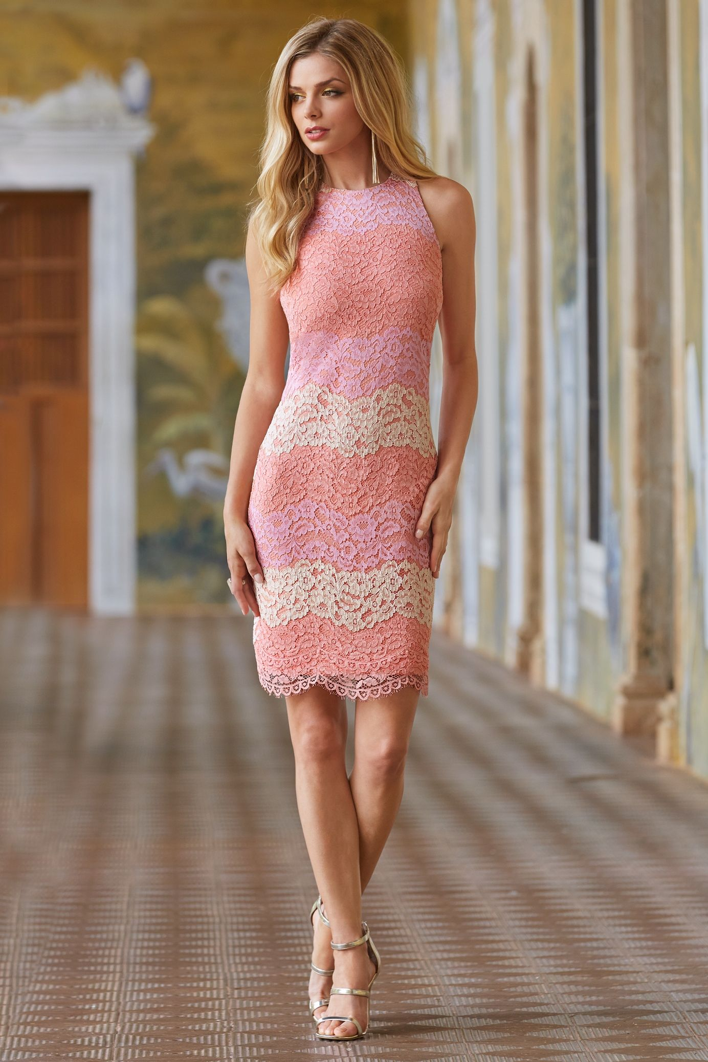 Contrast lace sheath dress | Vestiditos