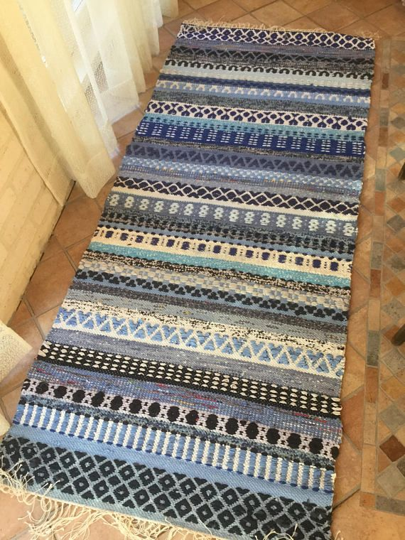 Suomi 100 Freestyle Blue Rag Rug With Rosepath Stripes