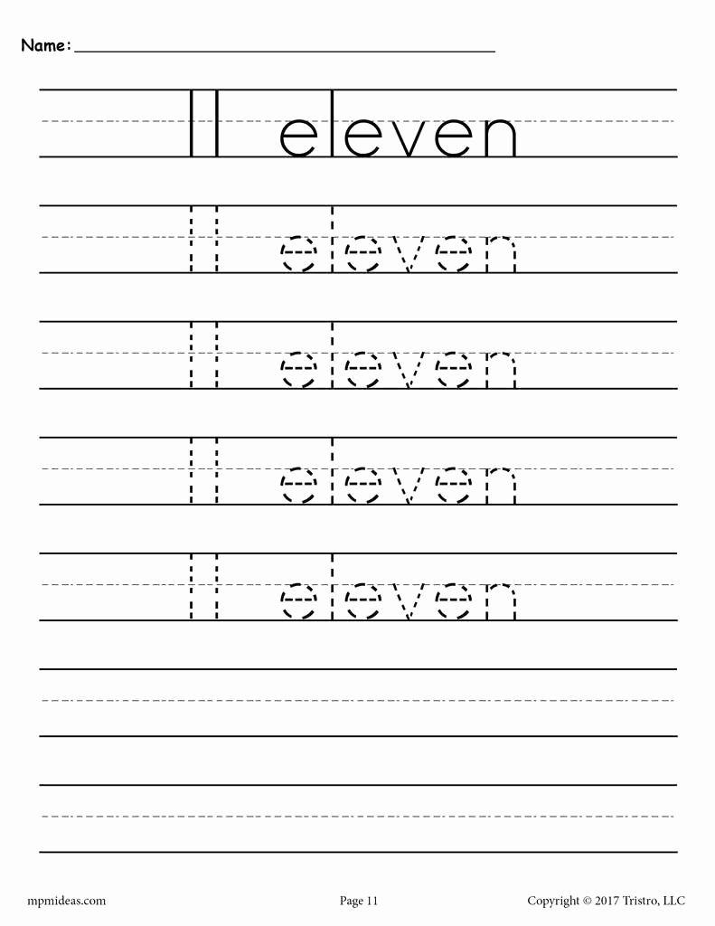 Number 11 Worksheet In 2020 Tracing Worksheets Handwriting Analysis Learn Handwriting