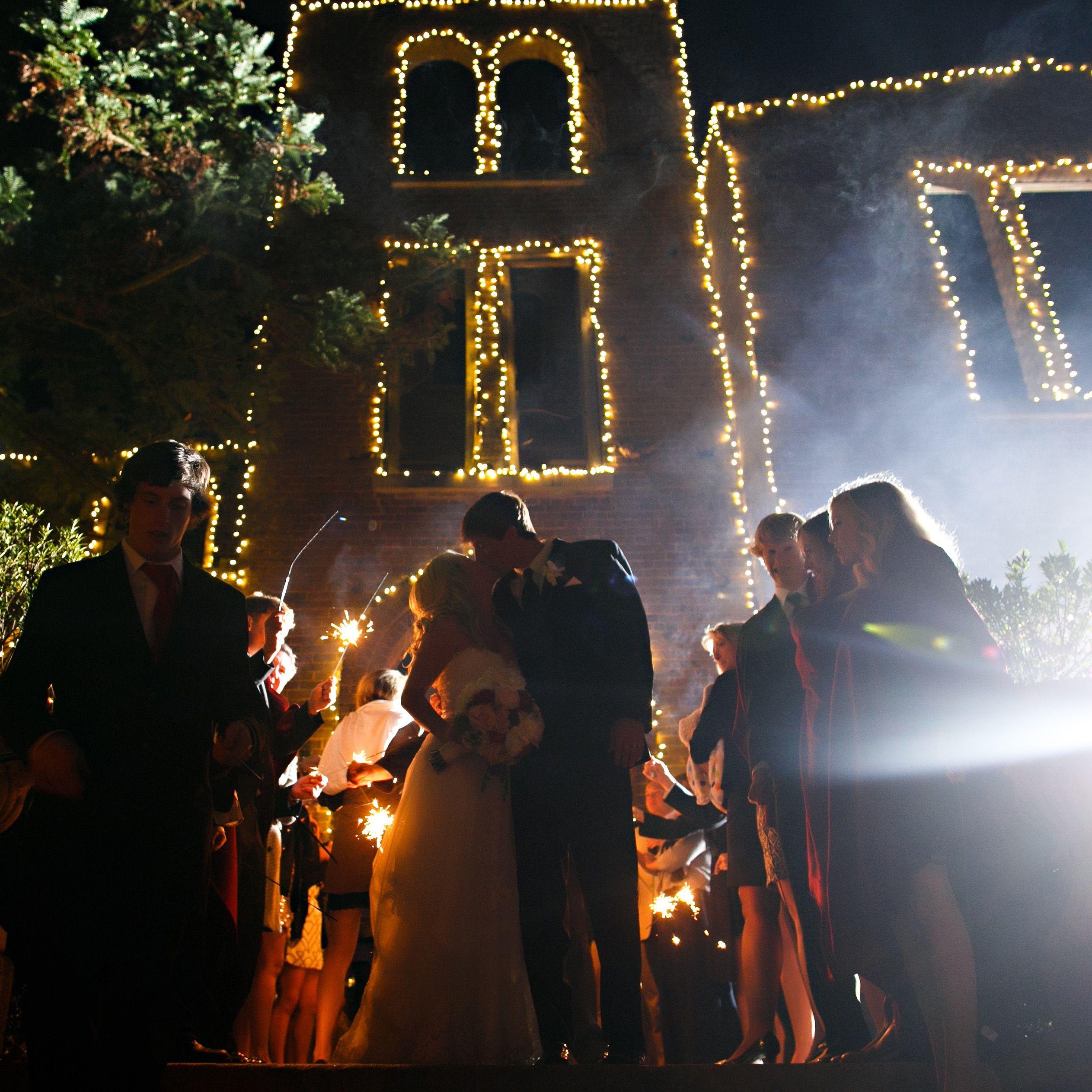 Barnsley Gardens Wedding Christmas lights on the ruins for reception ...