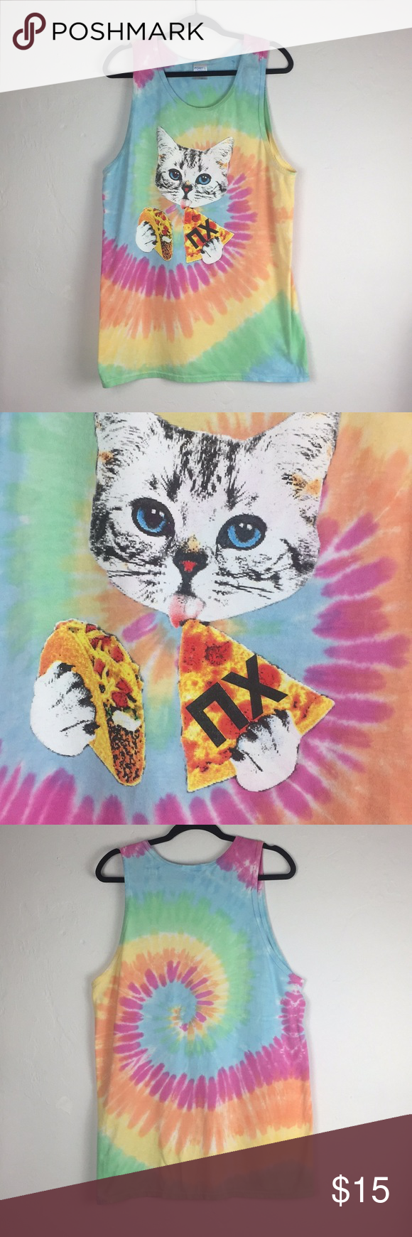 Cat eating taco and pizza tie dye tank cat lovers Tie