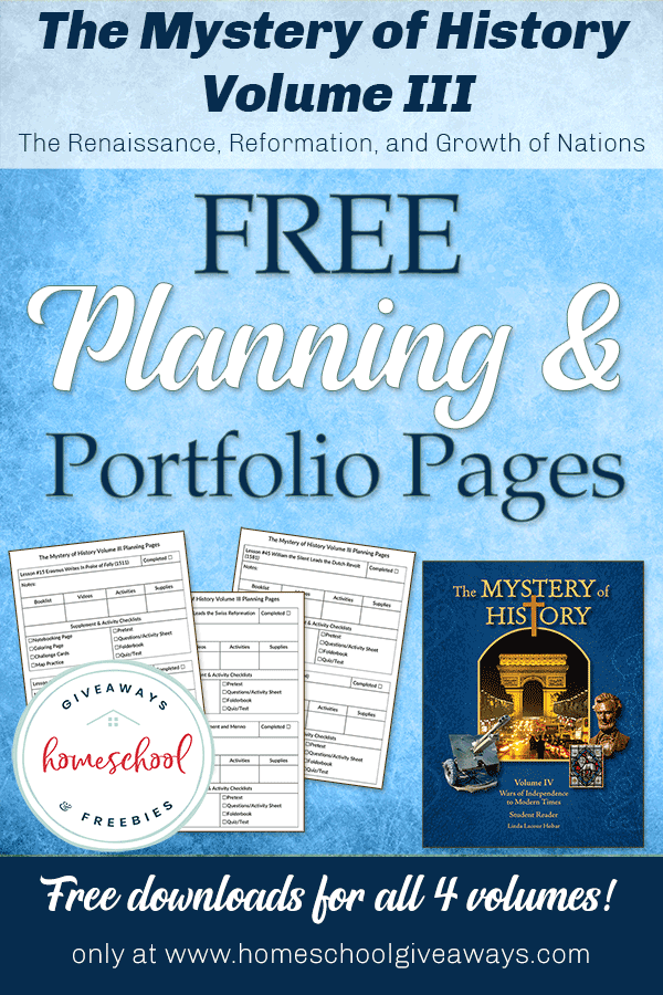 Free The Mystery Of History Planning Portfolio Pages Homeschool Giveaways Mystery Of History Homeschool Homeschool Freebies