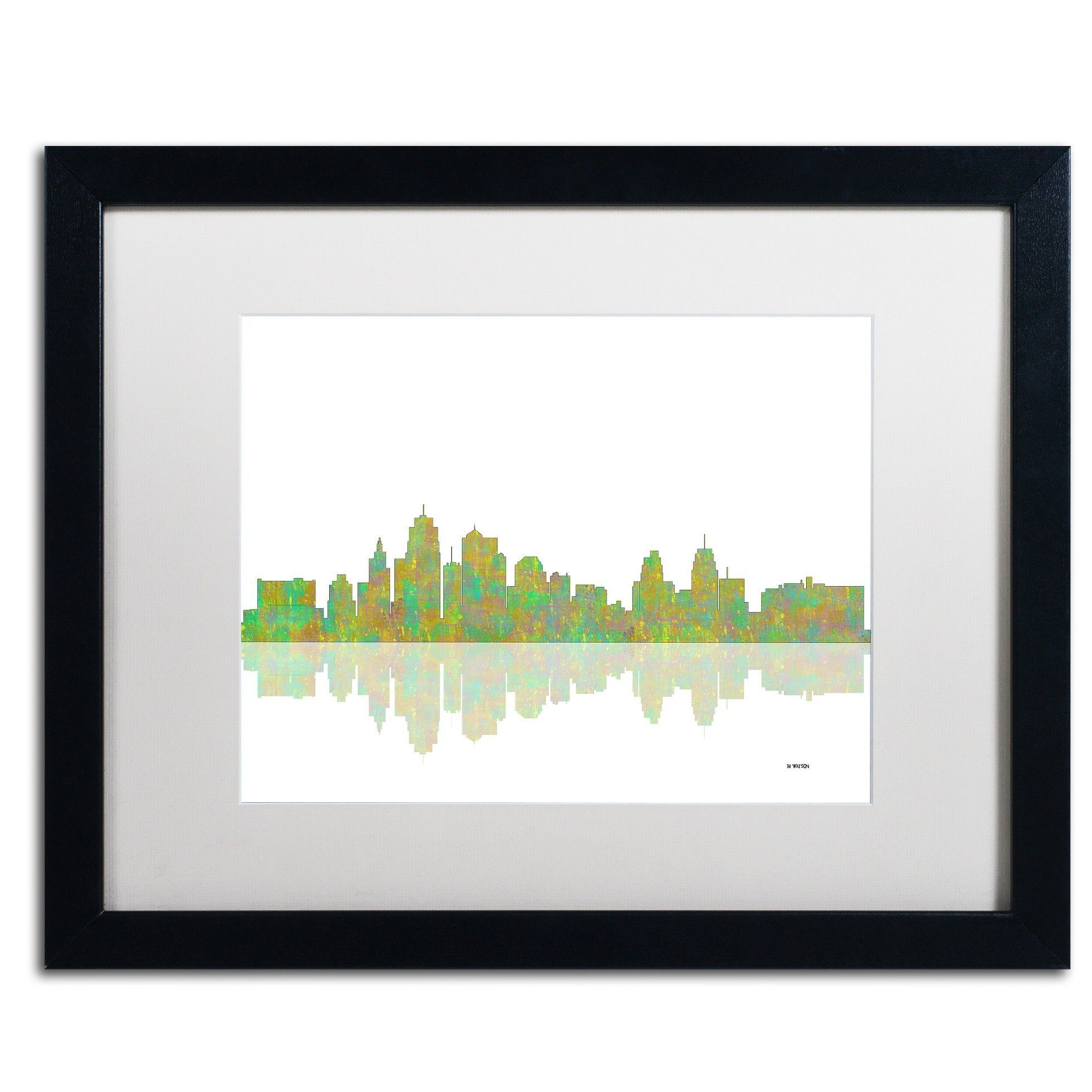 Kansas City Missouri Skyline by Marlene Watson Framed Graphic Art ...