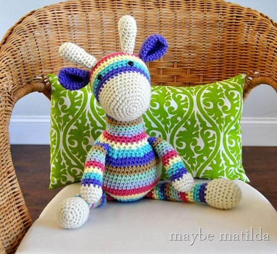 Get the pattern for this Striped Crochet Giraffe from Maybe Matilda.  A great stash busting project!