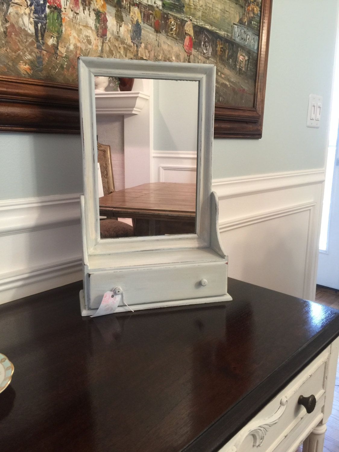 Sweet And Shabby Table Top Mirror With Drawer By VintageSowles On Etsy