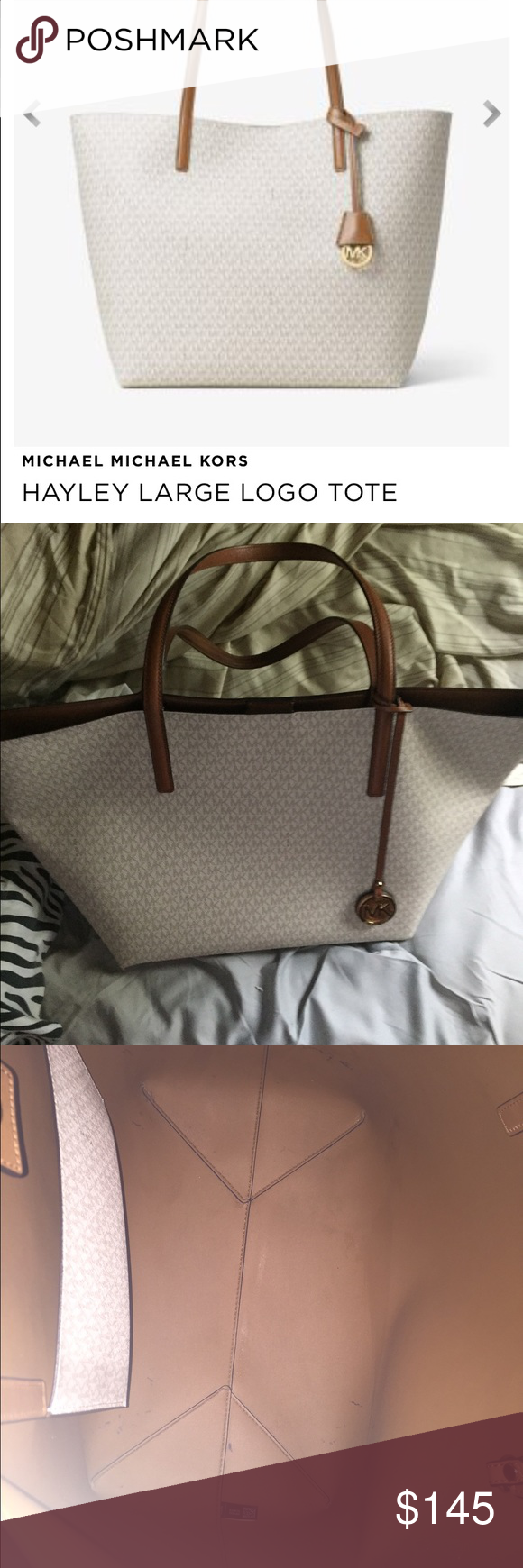 Authentic Michael Kors large leather tote Spring season bag used for a few months outside in excellent condition, some pen marks on inside leather. Comes with detachable leather wallet. Michael Kors Bags Totes