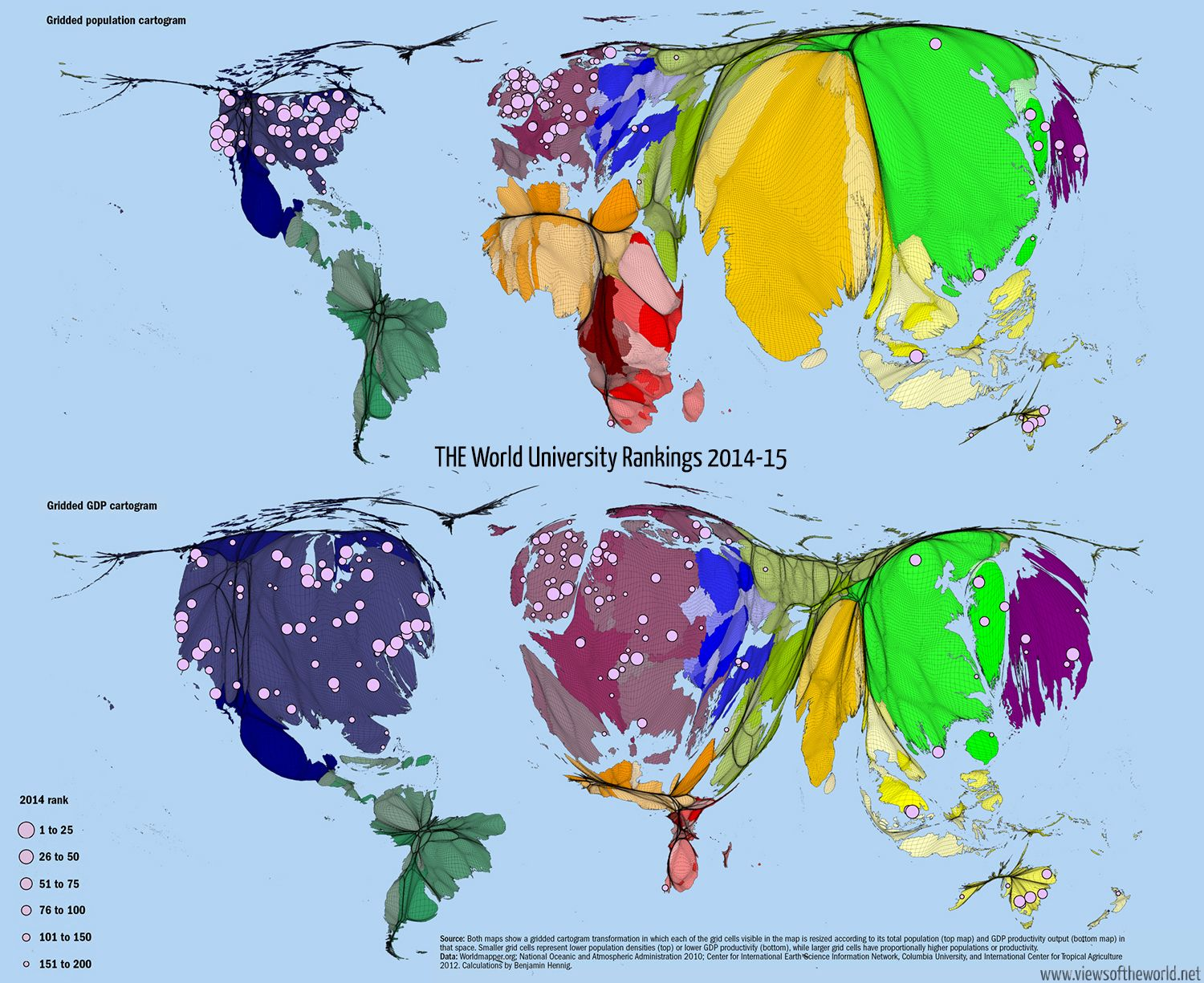 THE World University Ranking Maps Map Pinterest The World - Map of us gdp countries