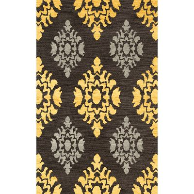 Astoria Grand Candleick Machine Woven Wool Black Yellow Area Rug