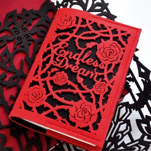 Princess Gothic Lolita Stationery Vintage Black And Red Rose Vampair Tapirs  Cutout Notepad Doodle Book Notebook