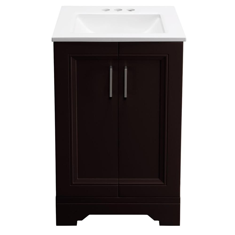 Glacier Bay Willowridge 18 1 2 In W Bath Vanity In Carob With Cultured Marble Vanity Top In White With White Sink Ppavlcab18 The Home Depot Marble Vanity Tops Small Bathroom Vanities White