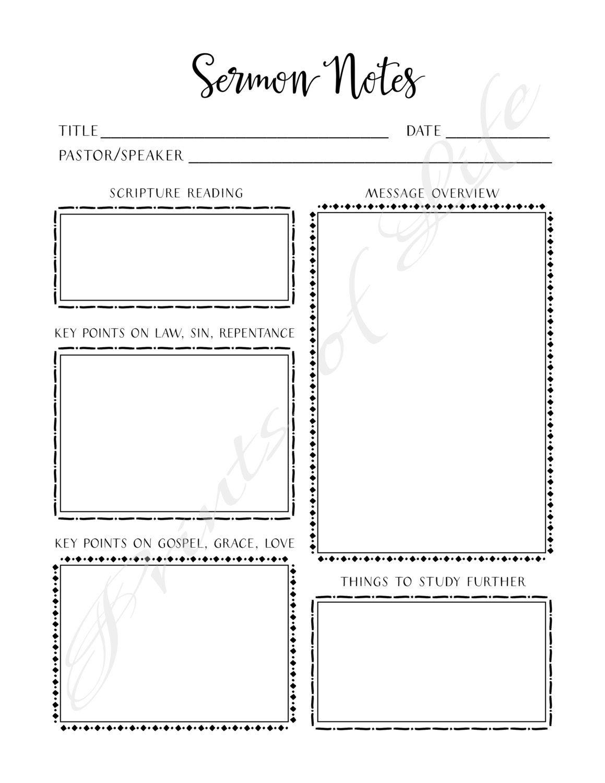 Sermon Notes Pdf Printable Instant Download Worship Notes Etsy Sermon Notes Bible Worksheets Bible Study