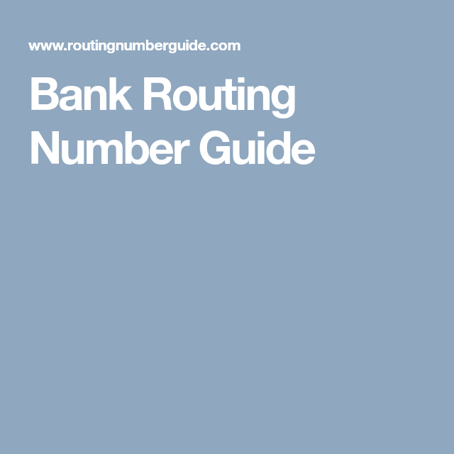 Bank Routing Number Guide | bank routing number | Pinterest | Banks ...