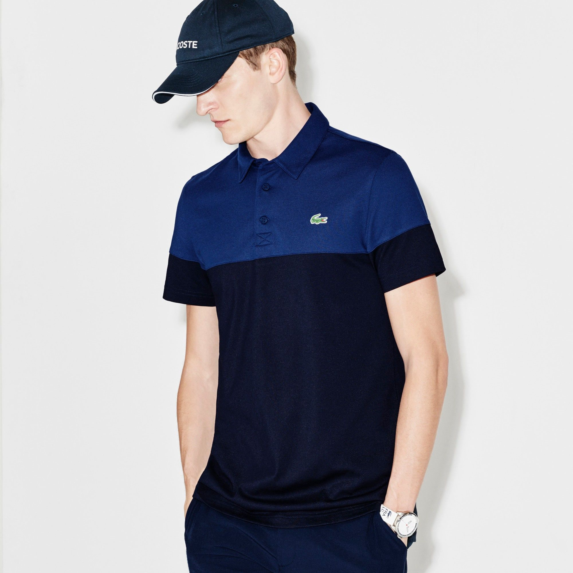LACOSTE Men s Lacoste SPORT Golf Colorblock Technical Piqué Polo - navy  blue ocean.  lacoste  cloth   0875e30a1b69